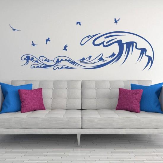 стикер морски вълни и птици