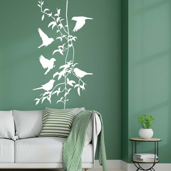 Птици и клонки стикер за стена
