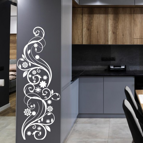 стикер орнамент с цветя за декорация на стена