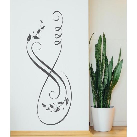 стикер с елегантни листенца и линии