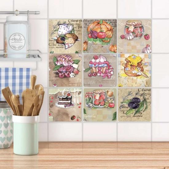 Романтична кухня - стикери за плочки